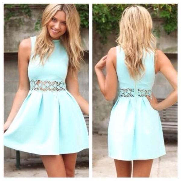 dress blue lace summer