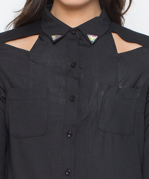 Love Triangle Chiffon Blouse in Black – FLYJANE