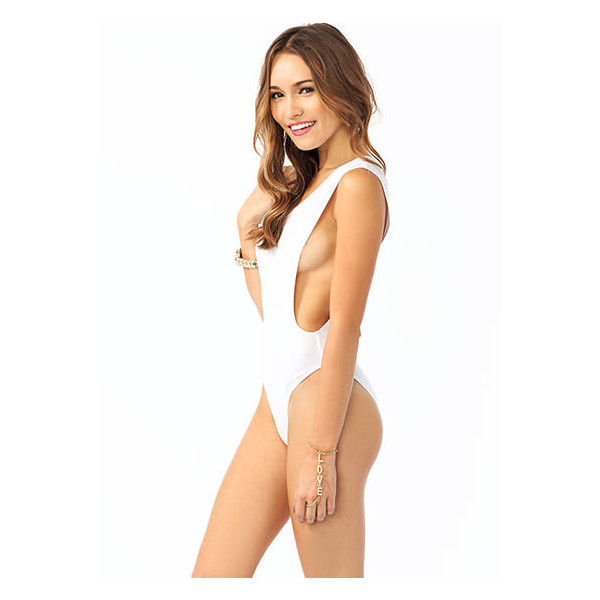Deep Cut Bodysuit - Polyvore
