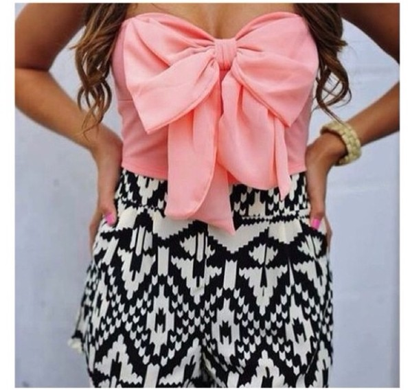 shirt shorts tube top strapless tribal pattern High waisted shorts bows pink black and white girly dress