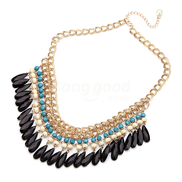Bohemian Style Multilayer Drop Beads Pendant Tassel Choker Necklace Free Shipping!  - US$3.99