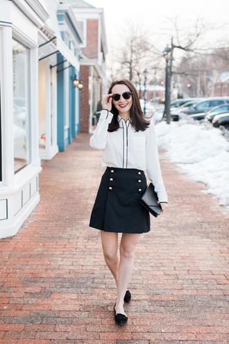 thecollegeprepster blogger blouse skirt bag sunglasses white blouse black skirt clutch ballet flats