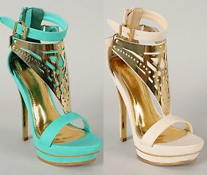 Liliana Shelby-6 Open Toe Gold Plated Platform High Heel Sandals Shoes Nude Blue | eBay