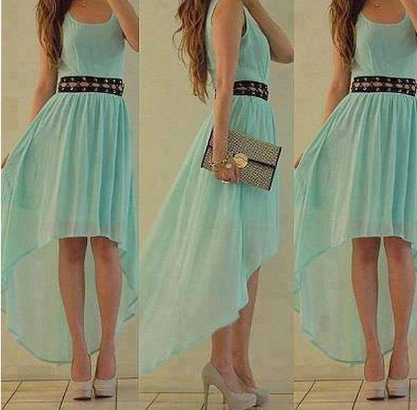 dress high heels wallet aqua high low