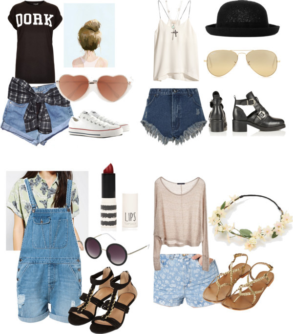 shorts outfit cute outfits converse high heels sandals High waisted shorts flower crown heart sunglasses sunglasses lipstick red lipsstick hat