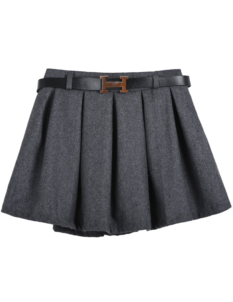 Grey Belt Pleated Skirt - Sheinside.com