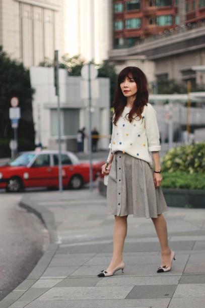 mochaccinoland blogger circle skirt midi skirt jumper sweater skirt scarf bag shoes