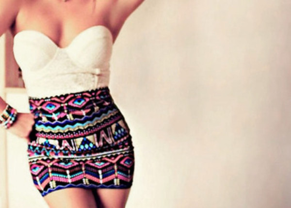 shirt clothes top summer skirt style crop tops aztec white cream bralette sleeveless bra outfit party dress tight girly pretty gorgeous print tank top bustier lace tribal pattern aztec skirt colorful skirt pattern colorful where did u get that