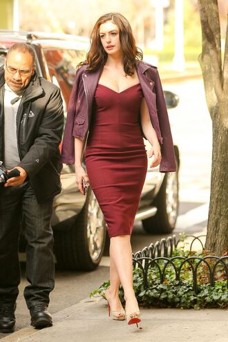 dress midi dress pumps jacket anne hathaway