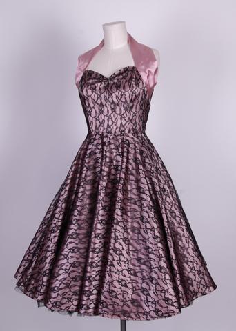 50s halterneck satin wedding dress lace overlay-dusky pink black [HL 003] - £44.99 : Queen of Holloway, Dressing Shop