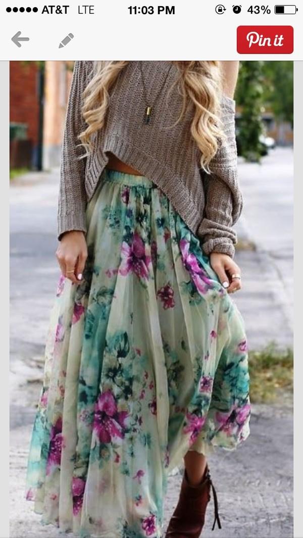 skirt floral skirt long skirt chicwish