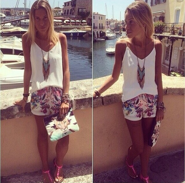 jewels top shorts necklace summer outfits instagram fashion girly