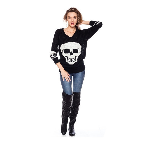 sweater happy skull rock vogue dress to kill makeup table v neck black winter outfits fall outfits fashion top vanity row