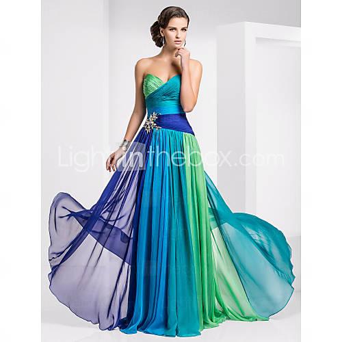 schede / column sweetheart vloer-length chiffon ombre avond / prom dress - USD $ 147.49