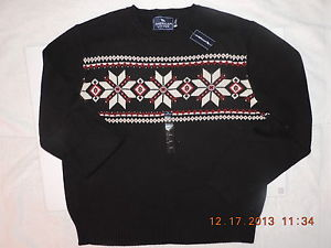 Men American Living Holiday Black Knit Crew Neck Pullover Sweater Sz XL XXL | eBay