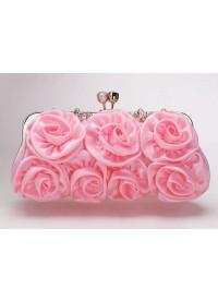 Pink Rose Flower Satin Evening Clutch Bag Phlbbg0006 for $44
