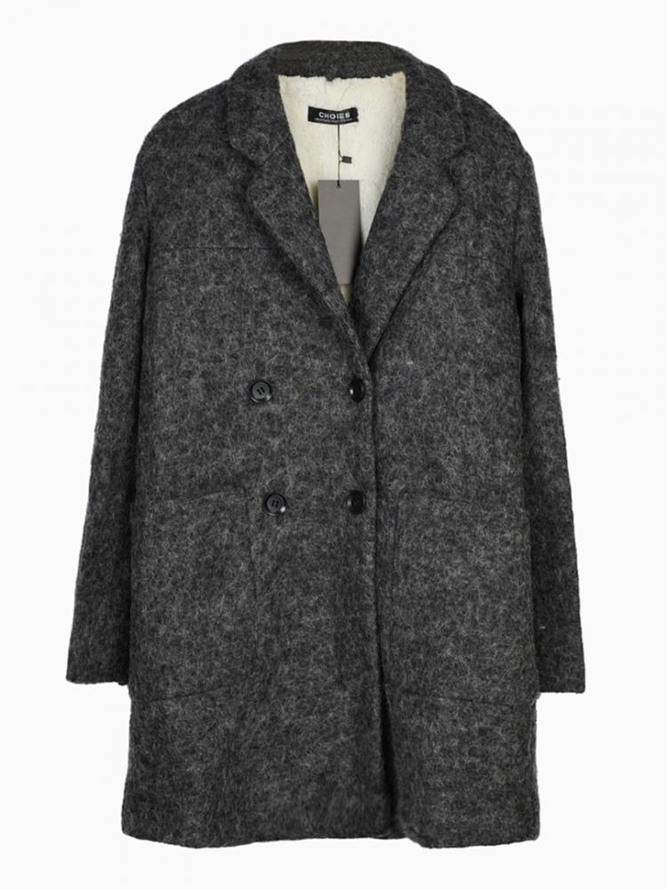 Oversize Longline Coat In Gray   Choies