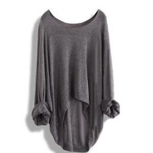 Long-sleeved Knit Shirt Blouse HollowLong-sleeved Knit Shirt Blouse Hollow A 083101 on Luulla