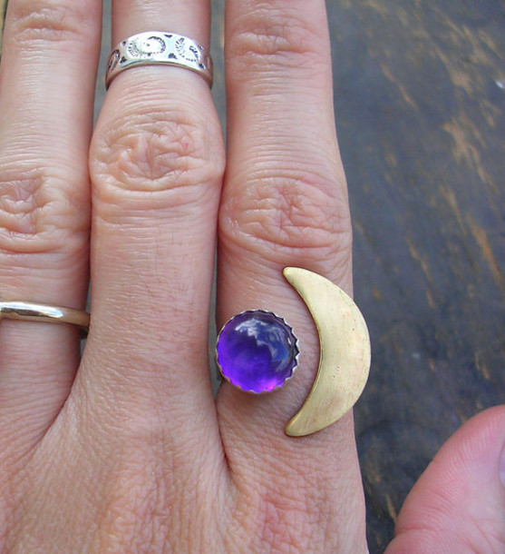 Ideal jewels, ring, 2 piece ring, moon ring, sun and moon ring, purple  NW46