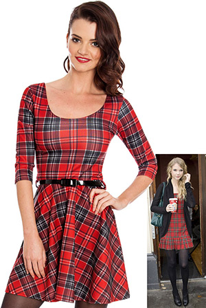 Three Quarter Sleeve Tartan Print Skater Skirt in the style of Taylor Swift