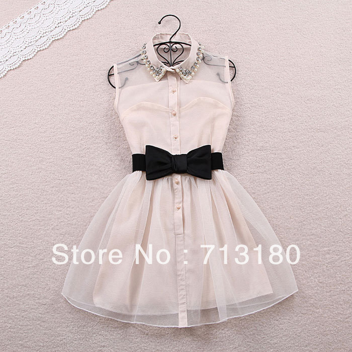 Free Shipping Sunlun Korean pearl CZ diamond Turn down Collar Elegant one piece dress with bow waistband-in Dresses from Apparel & Accessories on Aliexpress.com
