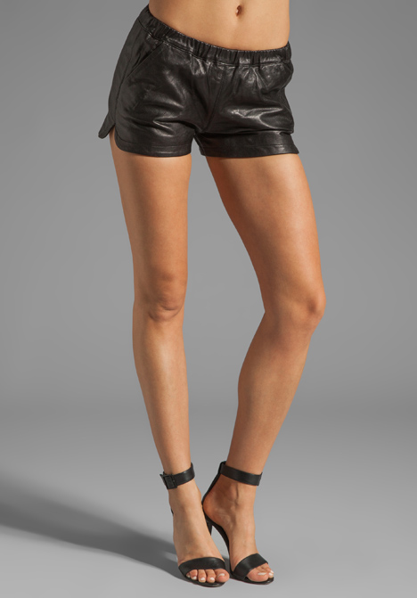MACKAGE Ibbie Distressed Leather Shorts in Black at Revolve Clothing - Free Shipping!