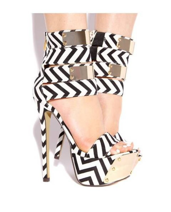 shoes high heels strappy heels open heels platform shoes platform high heels black and white black and white high heels black and white striped party shoes