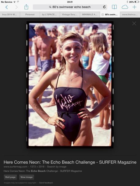 swimwear 80s style black swimwear 80's headband