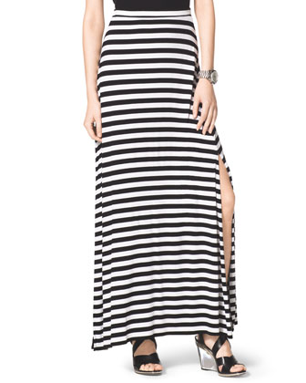 MICHAEL Michael Kors  Striped Slit Maxi Skirt