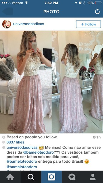 dress light pink lace top beaded prom dress formal dress