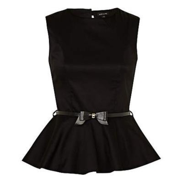 shirt peplum shirt peplum peplum top asdfgjkl omfg black cute mini bow bow mini bow belt wiiiii thanks