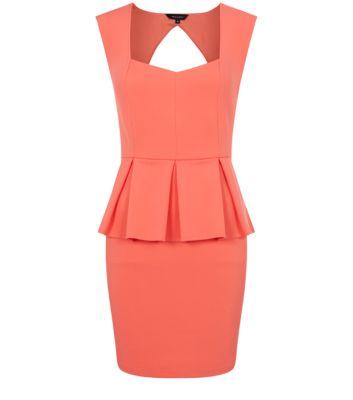 Coral Open Back Pleated Peplum Dress