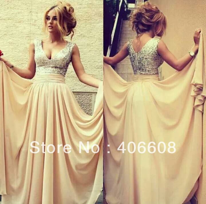 2014 Online Store High Quality New Fashion V Neck Sleeveless Cream Sequin Chiffon Draped Prom Gowns Formal Evening Dress-in Evening Dresses from Apparel & Accessories on Aliexpress.com
