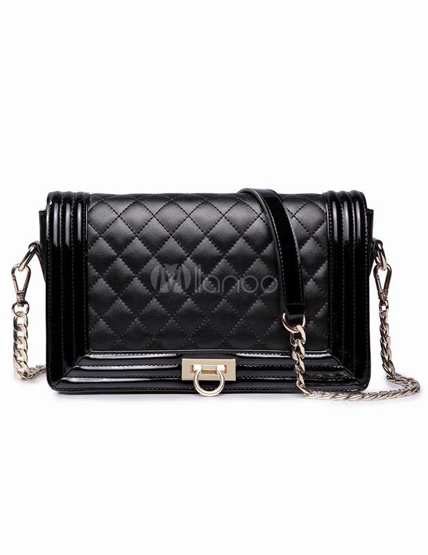 Black Plaid Quilted Cowhide Women's Cross Body Bag - Milanoo.com