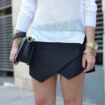 Zara Black Asymmetrical Skort — Bib   Tuck on Wanelo