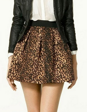 Leopard Printed Pleated Pocket Zipper Skirts  - Juicy Wardrobe