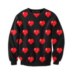 Cheap Sweatshirt: Pixel Hearts Sweatshirt | Belovedshirts