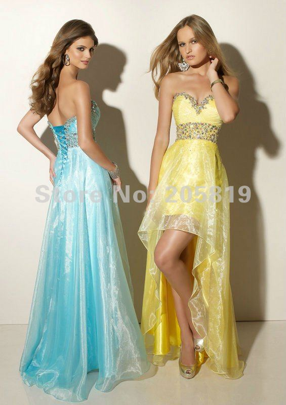 2012 A Line Sweetheart Neckline Sleeveless Beading Satin Front Short Long Back Prom Evening Dress, High Quality, IWD91027-in Prom Dresses from Apparel & Accessories on Aliexpress.com