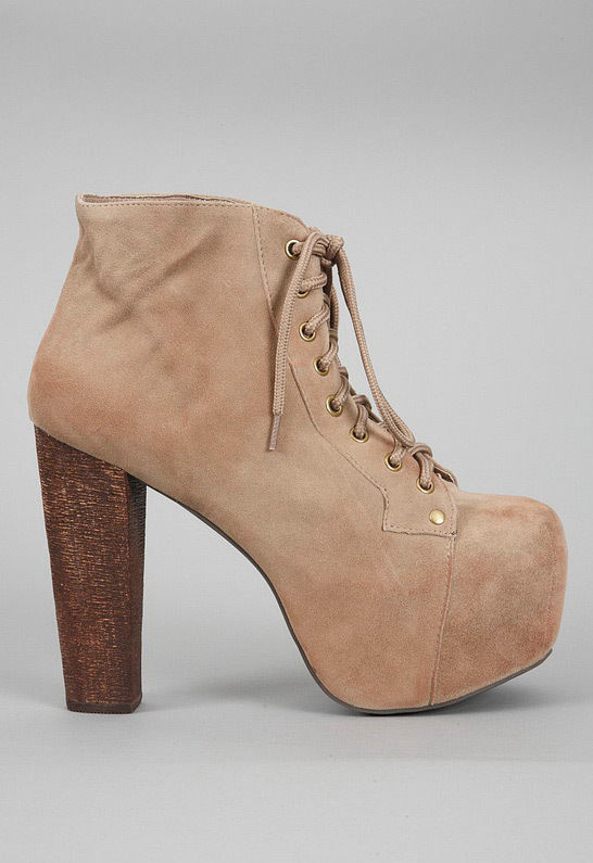 Jeffrey Campbell Lita in Taupe Suede Lace Up Ankle Boot Platform Heel Everly | eBay