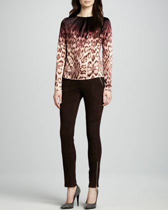 J Brand Ready to Wear Janine Blouse & Astrid Suede Pants - Neiman Marcus