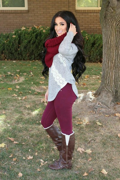 scarf shirt pants boots blouse