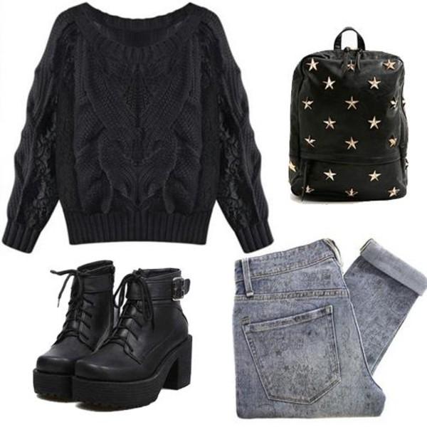 shoes boots shoes black boot heel platform shoes bag jeans sweater