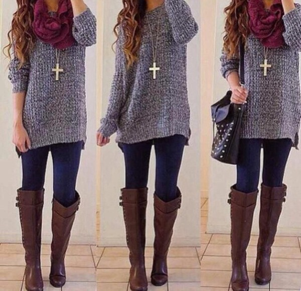 shoes boots knee high boots brown leather boots sweater scarf