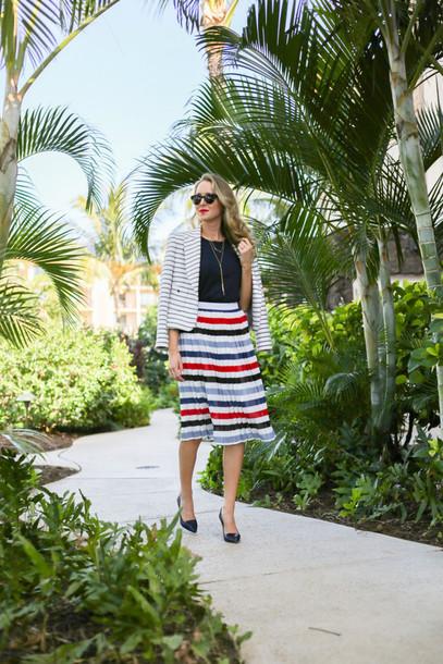 the classy cubicle blogger striped skirt blazer stripes midi skirt skirt jacket jewels shoes