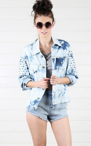 Denim Spiked Jean Jacket  and Shop Apparel at MakeMeChic.com