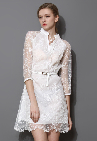 dress white string nexk embroidered organza