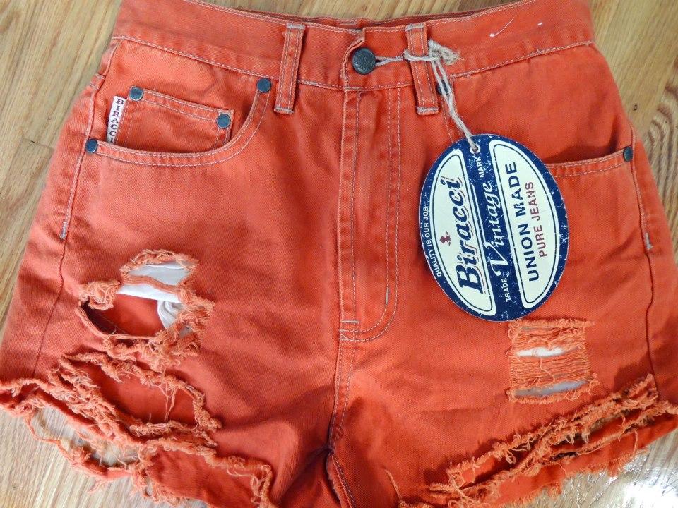 New Vintage Summer Shorts High Waisted Urban Studded Orange Shirt Distressed | eBay