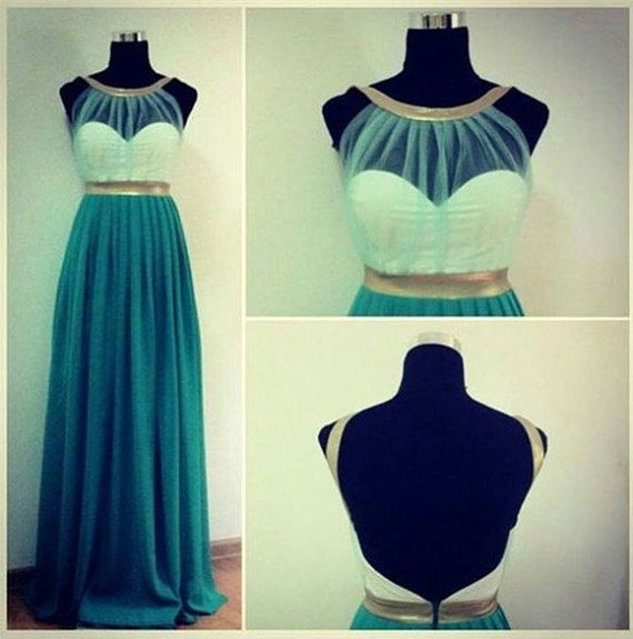 Custom Made Green And Gold Round Neckline Backless Prom Dresses, Long Prom Dresses, Dresses For Prom on Luulla