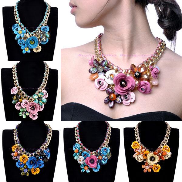Hot Fashion Gold Chain Rhinestone Crystal Rose Flower Bib Statement Necklace | eBay