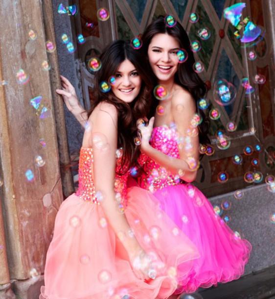 dress kendall jenner kylie jenner sherri hill pink dress peach dress